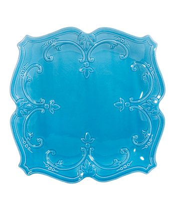 Turquoise Fancy Scroll 10.5'' Square Dinner Plate
