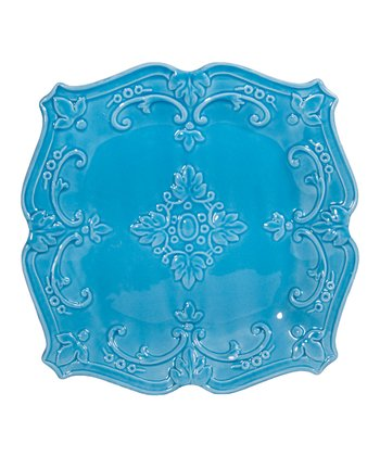 Turquoise Fancy Scroll 8'' Square Salad Plate