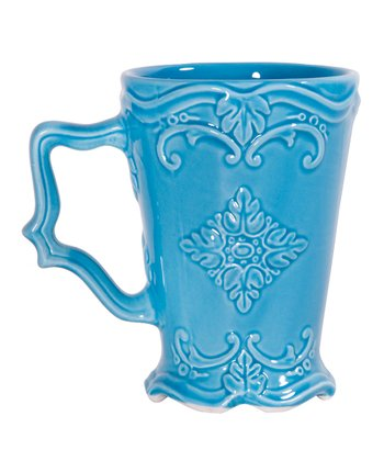 Turquoise Fancy Scroll Footed Mug
