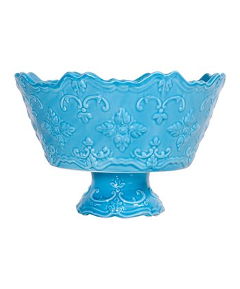 Turquoise Fancy Scroll Footed Serving Bowl
