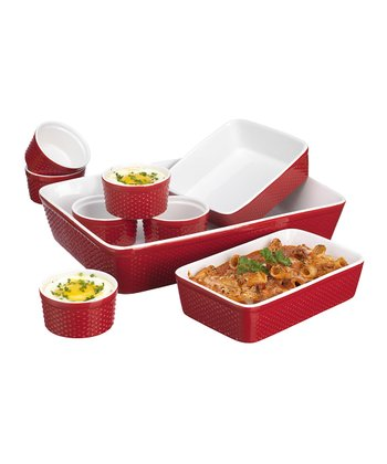Red Hobnail 9-Piece Bakeware Set