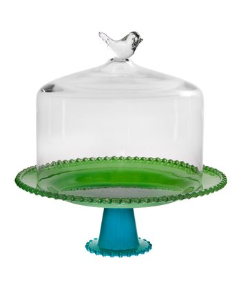 Green & Blue Bird 13'' Cake Dome