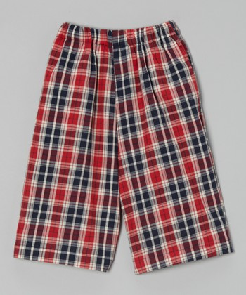Black & Red Plaid Shorts - Toddler & Boys