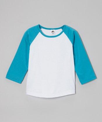 Aqua & White Raglan Tee - Toddler & Boys