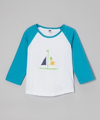 Aqua & White Boat Raglan Tee - Toddler & Boys