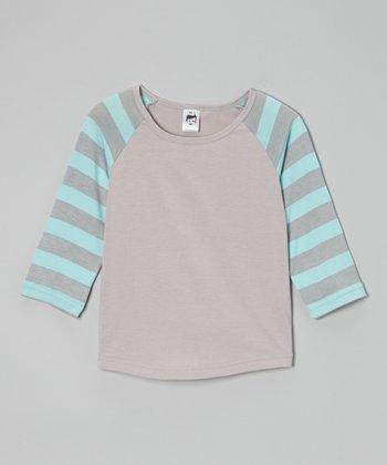 Blue & Gray Stripe Raglan Tee - Toddler & Boys