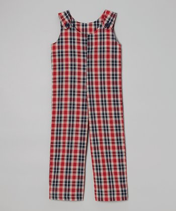Black & Red Plaid Overalls - Toddler & Boys