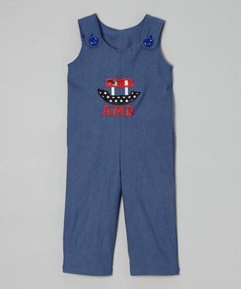 Gray Bow Monogram Overalls - Toddler & Boys