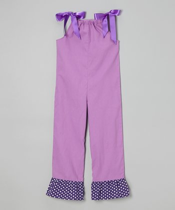 Purple Ruffle Tie Overalls - Toddler & Girls