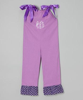 Purple Monogrammed Tie Overalls - Toddler & Girls
