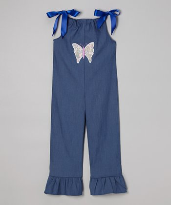 Gray Butterfly Tie Overalls - Toddler & Girls