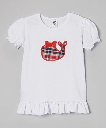 White Plaid Whale Puff-Sleeve Tee - Toddler & Girls