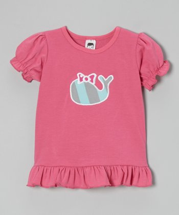 Pink Stripe Whale Puff-Sleeve Tee - Toddler & Girls