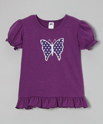 Purple Polka Dot Butterfly Puff-Sleeve Tee - Toddler & Girls
