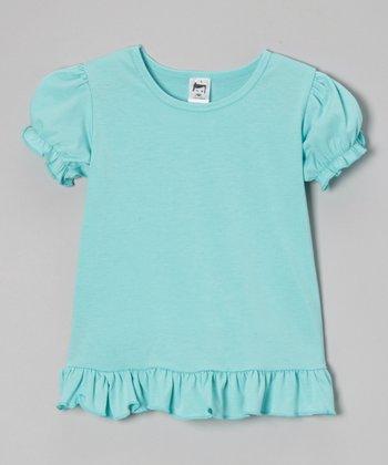 Turquoise Puff-Sleeve Tee - Toddler & Girls