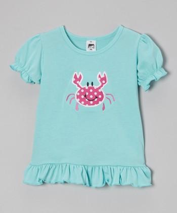 Turquoise Crab Puff-Sleeve Tee - Toddler & Girls