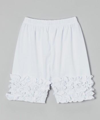 White Ruffle Shorts - Toddler & Girls