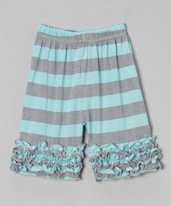 Blue & Gray Ruffle Shorts - Toddler & Girls