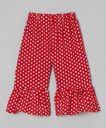 Red Polka Dot Ruffle Shorts - Toddler & Girls