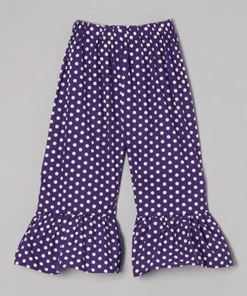 Purple Polka Dot Ruffle Shorts - Toddler & Girls