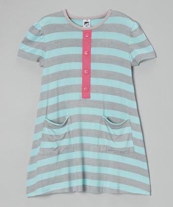 Blue & Gray Stripe Dress - Toddler & Girls