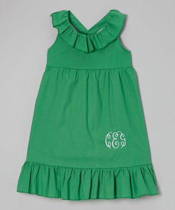 Turquoise Ruffle Monogram Dress - Toddler & Girls