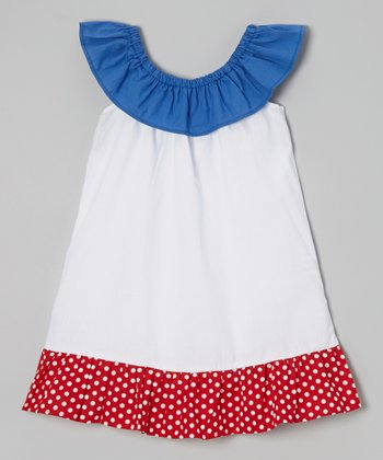 Navy Ruffle Yoke Dress - Toddler & Girls
