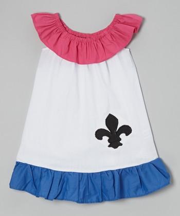 Red Fleur-de-Lis Yoke Dress - Toddler & Girls
