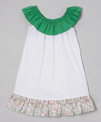 Green Ruffle Yoke Dress - Toddler & Girls