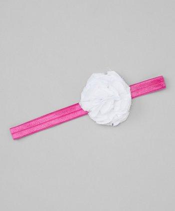 White & Pink Flower Headband