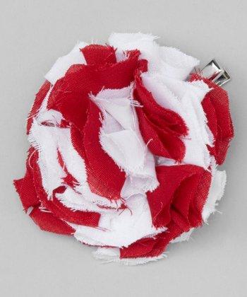 Red Stripe Shabby Flower Clip