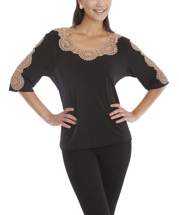 Black & Mocha Crocheted Embellished Top - Women & Plus