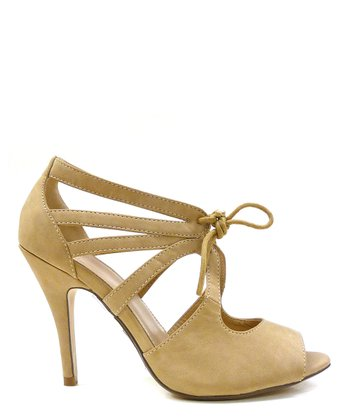 Taupe Fruity Peep-Toe Pump