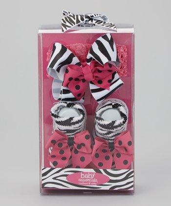 Baby Essentials Hot Pink & Black Zebra Socks & Headband Set - Infant