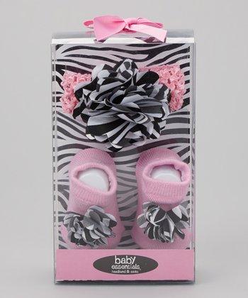 Baby Essentials Pink & Black Zebra Socks & Headband Set - Infant