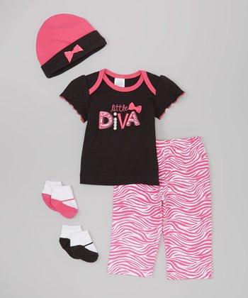 Baby Essentials Black & Hot Pink 'Little Diva' Tee Set - Infant