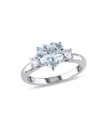 Aquamarine & White Sapphire Heart Ring
