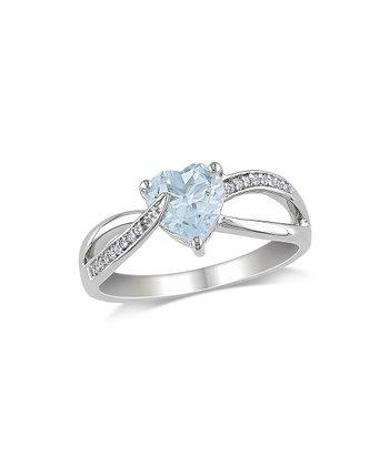 Diamond & Aquamarine Heart Ring