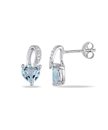 Diamond & Aquamarine Heart Earrings