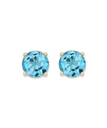 Blue Topaz & Gold Stud Earrings
