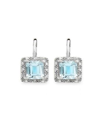 Blue Topaz & Silver Square Lever-Back Earrings