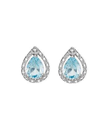 Blue Topaz & Diamond Teardrop Stud Earrings