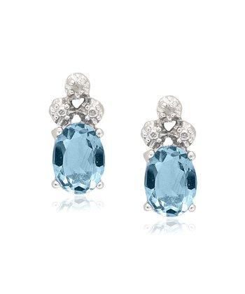 Blue Topaz & Diamond Oval Stud Earrings