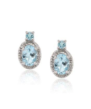 Blue Topaz & Sterling Silver Oval Earrings