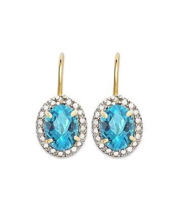 Blue Topaz & Gold Lever-Back Earrings