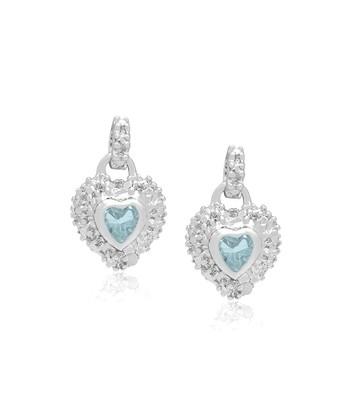 Blue Topaz & Diamond Heart Earrings