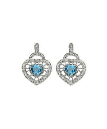 Blue Topaz & Diamond Heart Drop Earrings