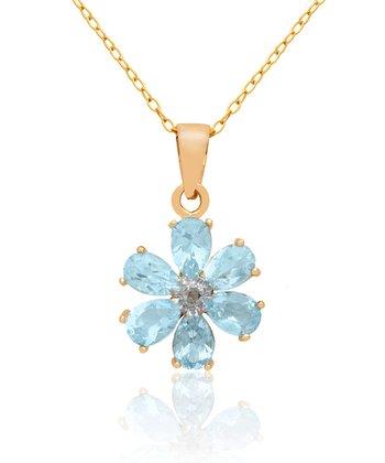 Blue Topaz & Gold Flower Pendant Necklace