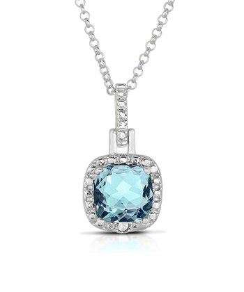 Blue Topaz & Sterling Silver Cushion Pendant Necklace