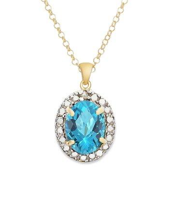 Blue Topaz & Gold Oval Pendant Necklace